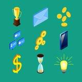 Un insieme di nove icone isometriche Immagini Stock
