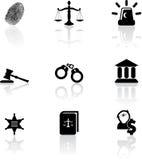 Icone della giustizia Immagine Stock