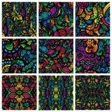 Un insieme di nove modelli senza cuciture disegnati a mano Fotografie Stock