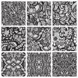 Un insieme di nove modelli senza cuciture disegnati a mano Fotografie Stock Libere da Diritti