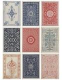 Un insieme di nove parti posteriori di scheda antiche di gioco dell'annata. Fotografia Stock