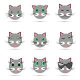Un insieme di nove sorrisi del gatto illustrazione vettoriale
