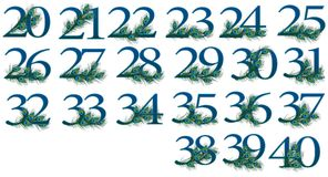un insieme di 20 - 40 numeri di 0 - 100 numeri del pavone Fotografia Stock