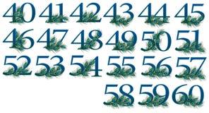 un insieme di 40 - 60 numeri di 0 - 100 numeri del pavone Immagine Stock