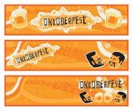 Un insieme di Oktoberfest di tre insegne di vettore per Oktoberfest illustrazione di stock