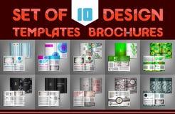 Un insieme di 10 opuscoli dei modelli di progettazione Illustrazione di vettore Immagine Stock