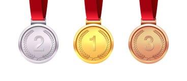 Un insieme di oro, di argento e delle medaglie di bronzo Vincitori di medaglia Isolato su priorità bassa bianca Illustrazione di  Fotografie Stock