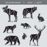 Un insieme di otto animali Animali selvatici nei grafici piani nero Fotografia Stock Libera da Diritti