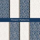 Un insieme di otto modelli di fiore senza cuciture di vettore progettazione per l'imballaggio, coperture, tessuto illustrazione di stock