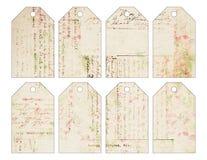 Un insieme di otto Natali d'annata grungy eleganti miseri etichetta con scrittura antica illustrazione di stock
