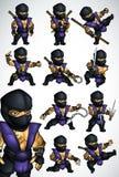 Un insieme di 11 posa di Ninja in kimono blu Fotografia Stock