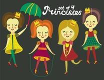Un insieme di 4 principesse variopinte sveglie Fotografia Stock