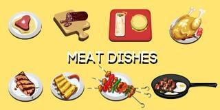 Un insieme di 8 prodotti a base di carne cucinati differenti, impilato su un piatto Fotografia Stock