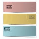 Un insieme di progettazione moderna di tre insegne orizzontali astratte Fotografia Stock
