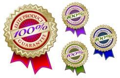 Un insieme di quattro 100% esperti in informatica dell'emblema di garanzia del prodotto dell'elite illustrazione vettoriale