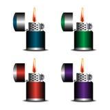 Un insieme di quattro accendini Immagine Stock