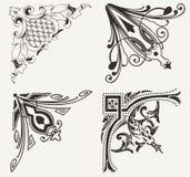 Un insieme di quattro angoli decorati di Hogh. Fotografia Stock Libera da Diritti