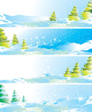 Un insieme di quattro bandiere di paesaggio di inverno Fotografie Stock Libere da Diritti
