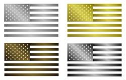 Un insieme di quattro bandiere metalliche stilizzate semplicemente isolate degli Stati Uniti d'America Fotografie Stock Libere da Diritti