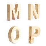 Un insieme di quattro caratteri di legno del blocco Fotografie Stock