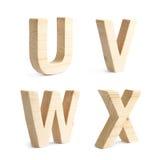 Un insieme di quattro caratteri di legno del blocco Immagini Stock Libere da Diritti