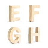 Un insieme di quattro caratteri di legno del blocco Fotografia Stock