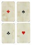 Un insieme di quattro carte da gioco d'annata dell'asso Immagini Stock Libere da Diritti