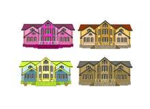 Un insieme di quattro case con i cambiamenti di colore Fotografie Stock Libere da Diritti