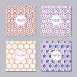 Un insieme di quattro coperture creative con il modello geometrico astratto degli esagoni royalty illustrazione gratis