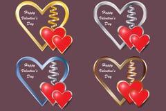 Un insieme di quattro cuori della struttura del metallo per il giorno del ` s del biglietto di S. Valentino illustrazione di stock