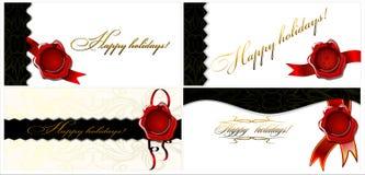 Un insieme di quattro feste felici delle carte! 02 (vettore) Royalty Illustrazione gratis