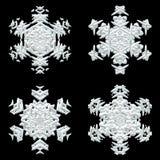 Un insieme di quattro fiocchi di neve bianchi differenti royalty illustrazione gratis