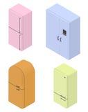 Un insieme di quattro frigoriferi isometrici Immagine Stock