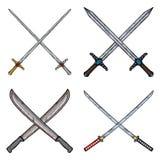 Un insieme di quattro ha attraversato le lama-rapière, le spade, i machete e Katanas illustrazione di stock