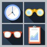 Un insieme di quattro icone di vettore con l'orologio Immagini Stock