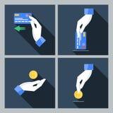 Un insieme di quattro icone di vettore con le mani che giudicano Fotografie Stock
