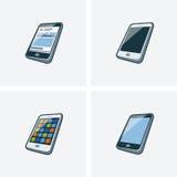 Un insieme di quattro illlustrations dello smartphone Fotografie Stock