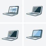 Un insieme di quattro illustrazioni del computer portatile Fotografia Stock Libera da Diritti