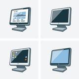 Un insieme di quattro illustrazioni del monitor di desktop pc Immagine Stock Libera da Diritti