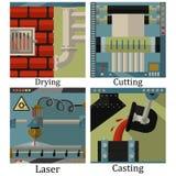 Un insieme di quattro immagini di tecnologico fabbrica il prodotto chimico illustrazione di stock
