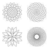 Un insieme di quattro mandale semplici floreali di vettore - sono aumentato, il girasole, il loto e l'aster - pagine adulte in bi Immagini Stock Libere da Diritti