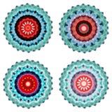 Un insieme di quattro mandale variopinte geometriche Immagine Stock Libera da Diritti
