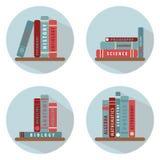 Un insieme di quattro maschere Scaffale per libri con i libri Varie collezioni illustrazione di stock
