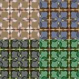 Un insieme di quattro modelli senza cuciture geometrici Fotografia Stock