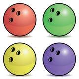 Insieme della palla da bowling Fotografie Stock