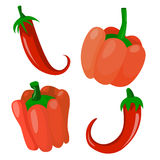 Un insieme di quattro peperoni Fotografia Stock