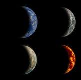 Un insieme di quattro pianeti differenti. Fotografia Stock Libera da Diritti
