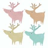 Un insieme di quattro renne sveglie nello stile d'annata delicato Fotografia Stock Libera da Diritti