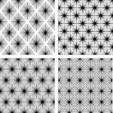 Un insieme di quattro reticoli geometrici monocromatici royalty illustrazione gratis