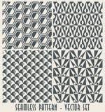 Un insieme di quattro reticoli geometrici monocromatici   Fotografia Stock Libera da Diritti